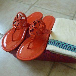 TORY BURCH 'Miller' Flat Logo Slide Sandals (7.5)